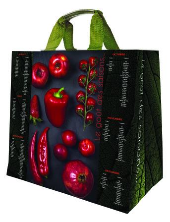 sacs cabas durable et réutilisable polypropylène fruits et